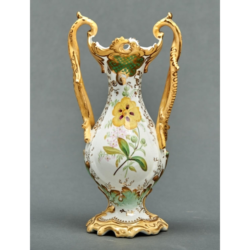 921 - A Staffordshire bone china vase, c1840, of baluster form with entwined handles and pierced rim, pain...