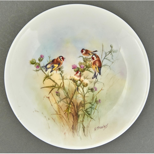 930 - An outside decorated plate, probably Royal Worcester, c1919-39, painted by G Moseley, signed, with g...