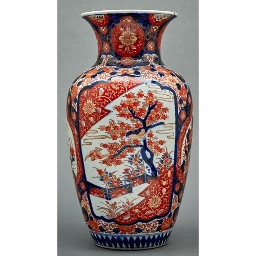 940a - A Japanese Imari baluster vase, early 20th c, the body with four shaped panels, two with...