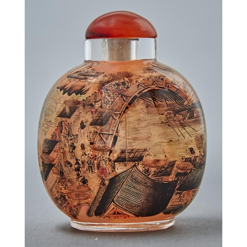 982 - A Chinese interior painted glass snuff bottle, 20th c, painted to either side with a busy scene of f...