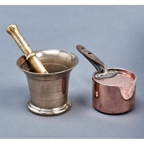1189 - A Victorian copper saucepan and lid, a Victorian brass bottle jack and a lead bronze mortar and pest...