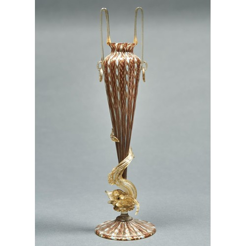 935 - A Venetianbaloton-blown glass vase with dolphin stem, probably Salviati & Co, c1900, with alter...