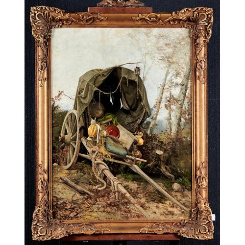 1239 - Fritz Willhelm Rabending (1862 - 1929) - An Abandoned Wagon, signed with initials and dated Jan '84,...