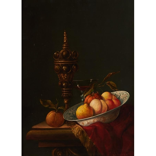 1241 - 20th c School - Still Life with Fruit, a Silver Gilt Cup and Wanli Bowl on a Ledge, signed V R Knapp...