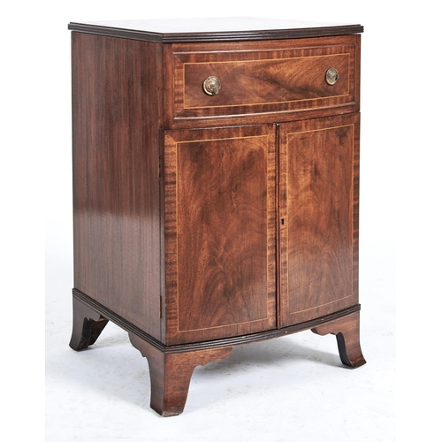 1463 - A reproduction mahogany commode in George III style, third quarter 20th c, outlined throughout boxwo...