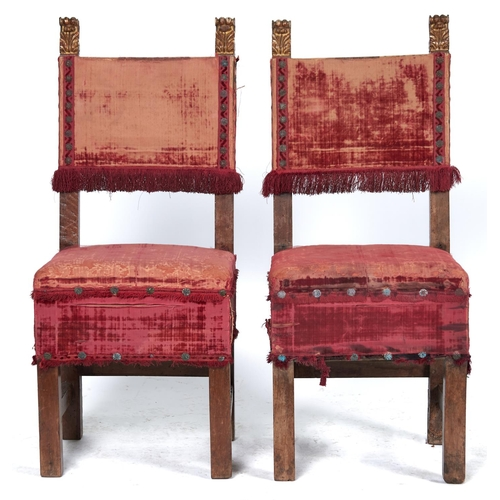 1546 - Six Spanish and North Italian walnut armchairs, late 17th c and later, with padded crimson velvet or...