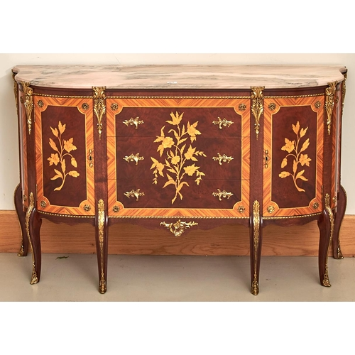 1566 - A marquetry commode, 20th c, in Louis XVI style, with marble slab and giltmetal mounts, 84cm h; 42 x...