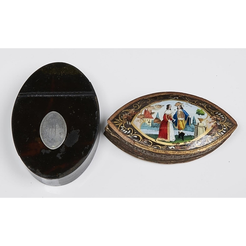 1003 - A French navette shaped pasteboard and reverse painted glass box and cover, 19th c, 12.5cm l and a G...