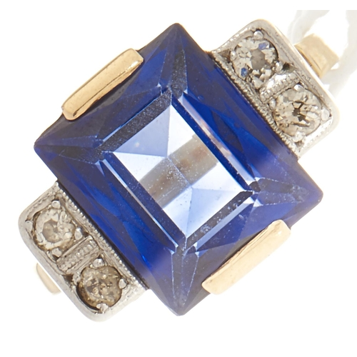 102 - A diamond and synthetic sapphire ring, in gold marked 585, 6.3g, size P