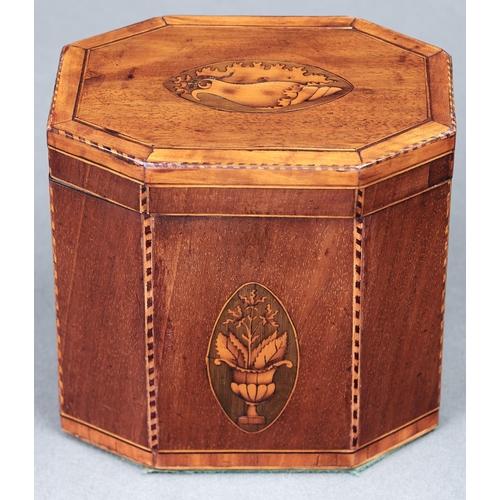 1039 - A George III mahogany and satinwood inlaid octagonal tea caddy, 13cm h; 13 x 9cm