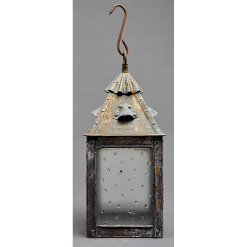 1041 - An oxidised brass vestibule lantern, 20th c, with frosted lights, 32cm h