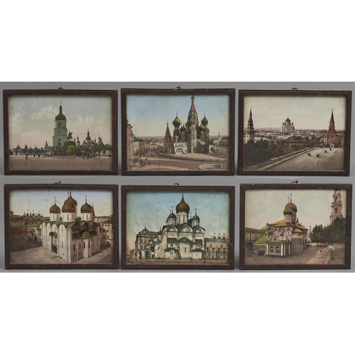 1043 - A set of six coloured photographs of Moscow, Russia, early 20th c, with printed publisher's mark, 15...