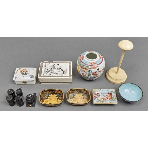 1047 - A pair of Chinese black and gold lacquer counter trays, a Herend porcelain cigarette box and cover,...