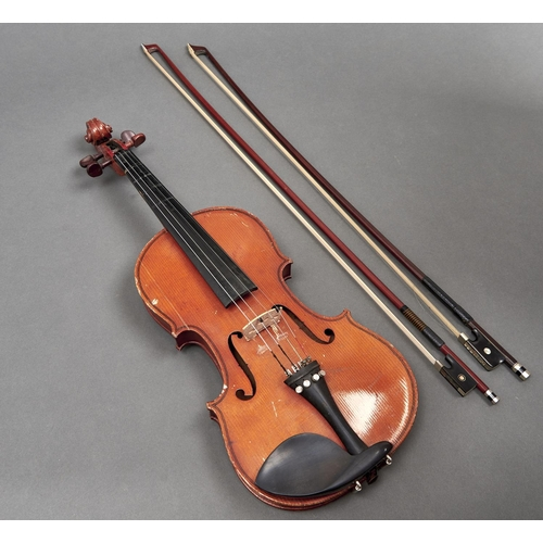 1049 - A violin, unlabelled, length of back 35.5cm and two violin bows