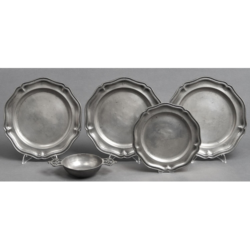 1051 - A pewter porringer, 19th c, with pierced crown shaped lug handles, 18.5cm l, pseudo hallmarks and a ...