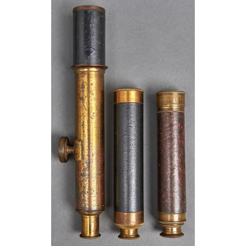 1062 - Three Victorian lacquered brass refracting telescopes, 1 inch and circa
