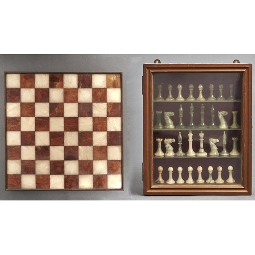 1074 - An alabaster chess set, moss green and veined grey white together with a brown and cream alabaster c...