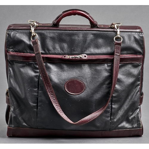 1100 - Luggage. A Mulberry black and burgundy leather suit carrier