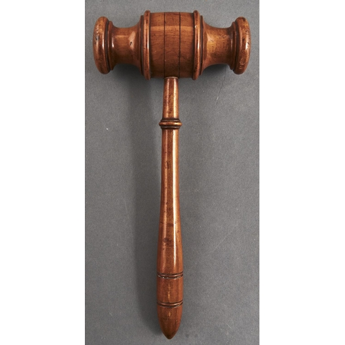 1119 - A Victorian fruitwood gavel of unusually large size, turned head and handle, 31.5cm l...
