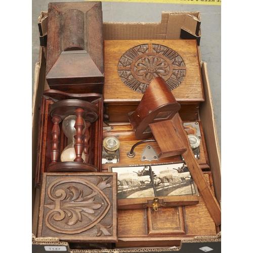 1147 - A Victorian rosewood tea caddy, an inlaid mahogany book trough, 22cm w, a metal mounted oak desk sta...