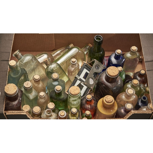 1155 - Antique Bottles. Various glass and stoneware beer and medicine bottles, etc, 19th c and later (appro...