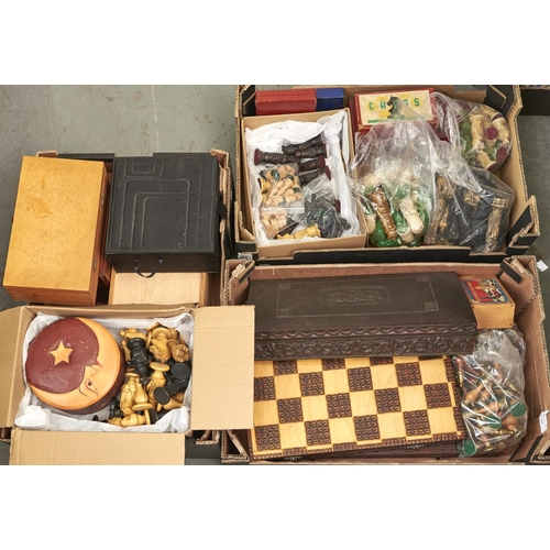1161 - Various sets of chessmen and chess boards, including Chinese style resin reproductions, carved wood,...