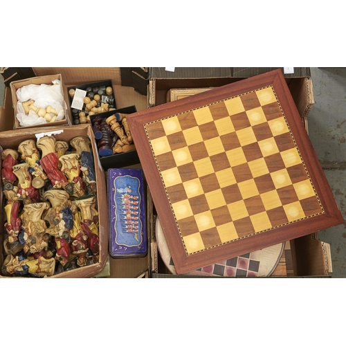 1163 - Chess. A reproduction resin set of the Monkey Band chessmen, alabaster, metal and various other sets...
