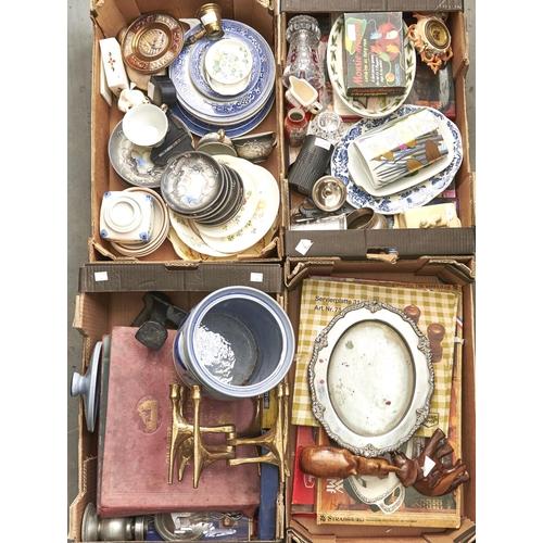 1167 - A modernist brass six branch candelabra, miscellaneous ceramics and brass, including Kutani vase, bl...