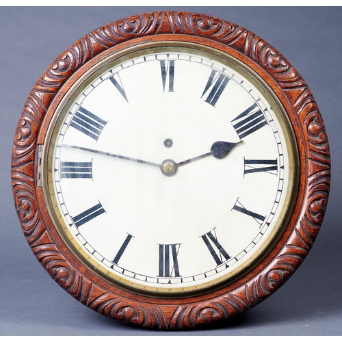 1172 - A Victorian oak wall timepiece, late 19th c, with painted dial and chain fusee movement, leaf carve...