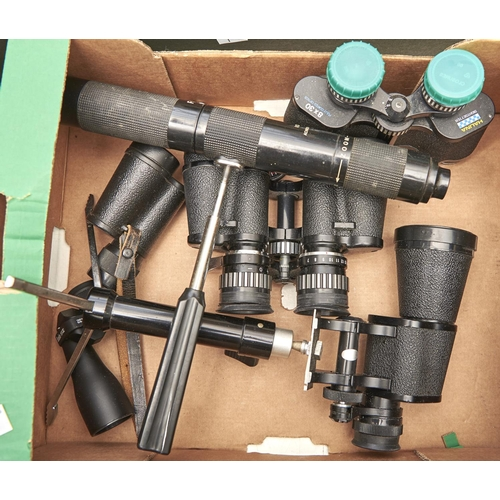 1178 - A quantity of binoculars and telescopes, including Tasco model No. 1017X/15X35 and others similar...