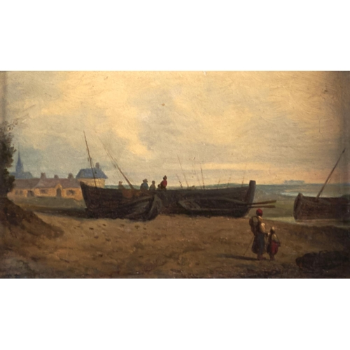 1255 - Lars Theodor (Tore) Billing (1817-1892 - Scene in a Fishing Village, signed with initials with insc...