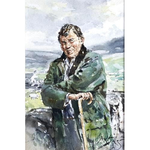 1256 - Gordon King (1939-) - Sheep Farmer, signed, watercolour, 26 x 17.5cm