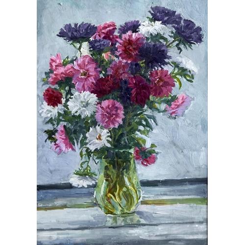 1260 - Russian School, 20th c - A Vase of Flowers, oil on board, 48 x 33.5cm