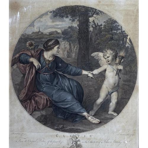 1263 - Franceso Bartolozzi, RA (1727-1815) after Annibale Carracci – Clytie, hand coloured engraving, mount...