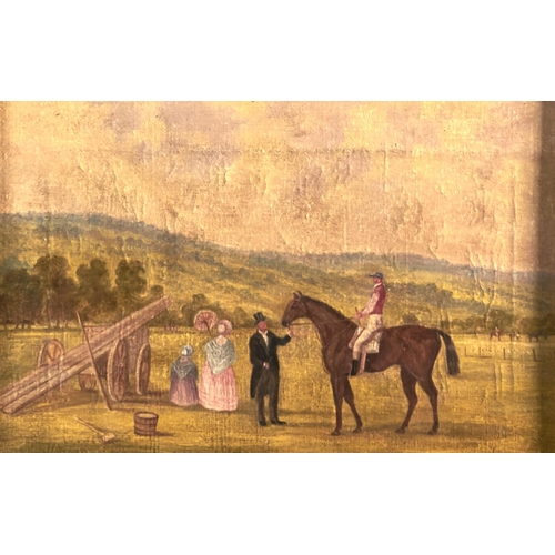 1267 - English School, 19th c - Point to Point; Horse and Jockey with its Owner , a pair, both signed Allan...