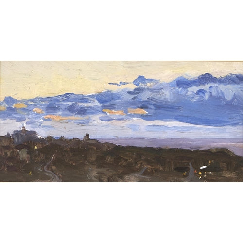 1283 - Russian School, 20th c - Landscape and other oil sketches, six, on board, various sizes, including 1...