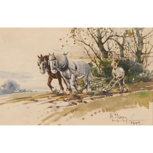 1285 - Harry Nixon (1886-1955, Royal Doulton artist) - The Plough Team, signed and dated 1945, watercolour,...