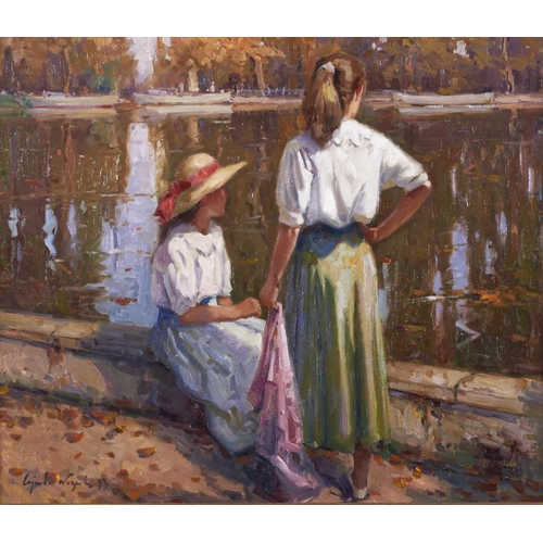1289 - Ricardo Cejudo Nogales (1952 - )- By a Lake in Madrid, signed and dated 93, signed and dated again a...