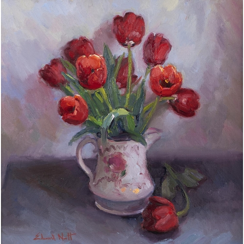 1290 - Edward Noott RBSA (1965 - ) - Tulips in a Lustre Ware Jug, signed (in red), oil on canvas, 49 x 49cm...