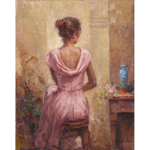 1294 - Ricardo Cejudo Nogales (1952 - ) - Figure in Pink II, signed, signed again, dated 2000 and inscribed...
