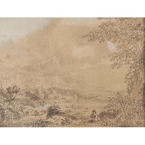 1297 - Anthony Devis (1729-1817) - A Seated Peasant and Dog in a Romantic Landscape, signed, pen, ink and w...