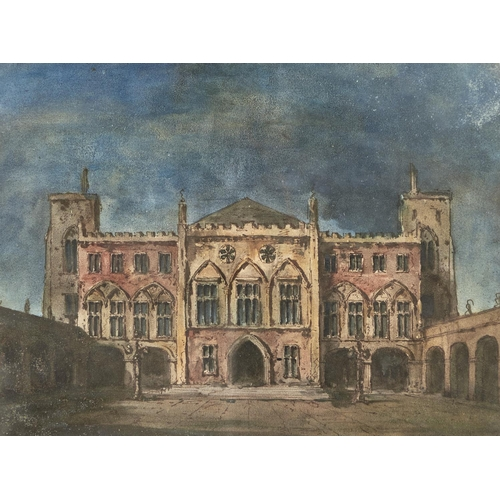1299 - British School - A Palazzo from the Courtyard, pen and brown ink, watercolour, 25 x 33.5cmProvenance...