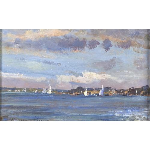 1310 - Andrew King ROI (1956 - ) - Blakeney Summer, signed, oil on hardboard, 14 x 23.5cm