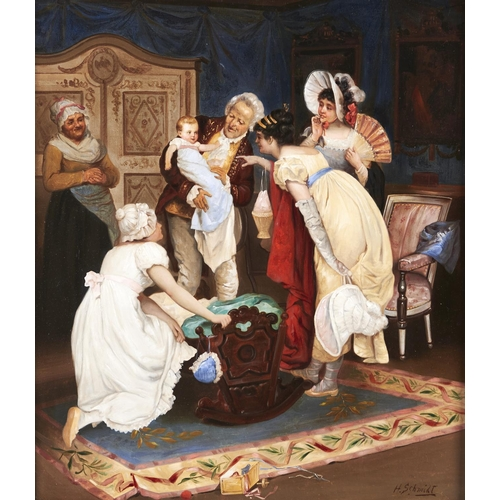1318 - H Schmidt (late 19th c) - The Centre of Attention, signed, oil on panel, 53.5 x 46.5cm...
