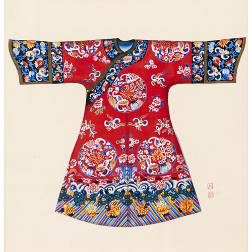 1325 - Chinese School, 20th c - Mandarin Robes, a pair, gouache on paper, with red seal, 30 x 30cm (2)...