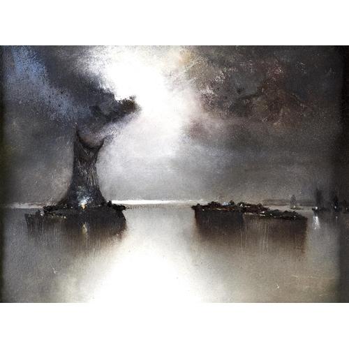 1330 - John Edward Barker (1889-1953) - Moonlit Lake Scene, with signature verso, oil on artist's board, 28...