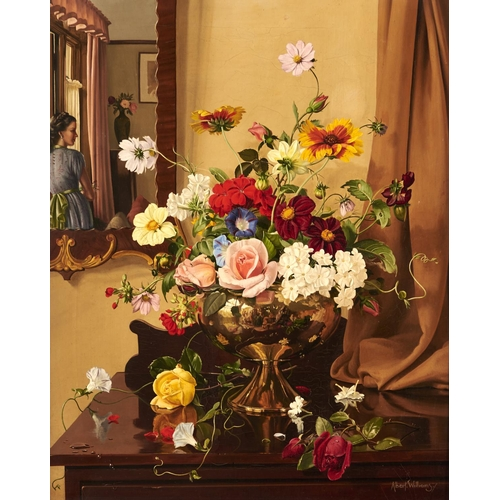 1334 - Albert Williams (1922-2010) - Flowerpiece with Portrait of a Young Woman Reflected in a Mirror, sign...