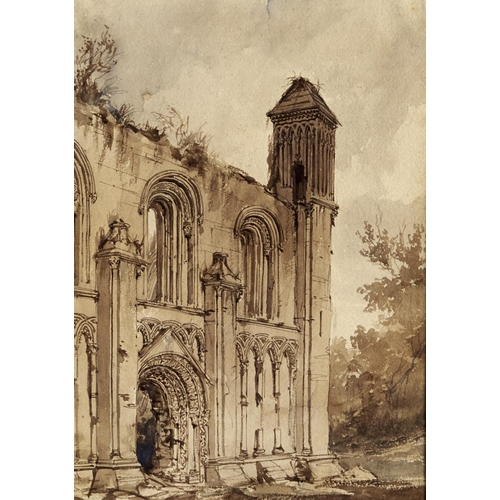 1343 - Frederick Nash, OWS (1782-1856) - Glastonbury Abbey, ink and watercolour, 35 x 25cmProvenance: Matth...