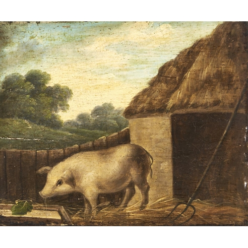 1345 - English Naive Artist, 19th c - Pig by a Rake before a Thatched Byre, oil on oak panel, 22 x 25cm...