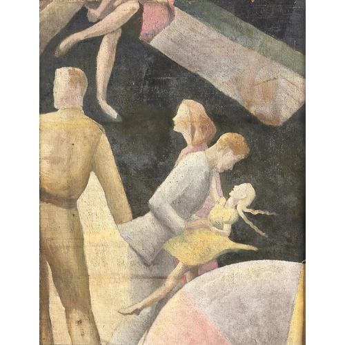 1348 - Follower of John Armstrong - Surrealist Figures, oil on canvas laid on board, 49.5 x 39.5cm...